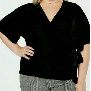 Loft size 20 Black wrap blouse NWOT